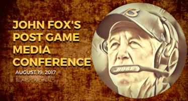 Head Coach John Fox Meets Media After 2nd Preseason Game